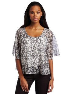 Bcbgeneration Women's Bell Sleeve Cape Top, Light Sky/multi, Small