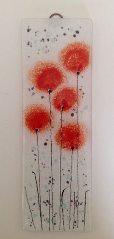 Orangey red fused glass flower panel #fusedglass #artglass #glassart email:info@firedcreations.co.uk