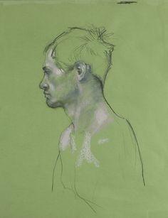 Green Man - pastel Gras sur Papier - 50 x 65 cm