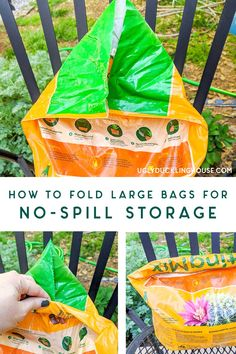 No-spill trick for how to store LARGE bags of potting soil, grass seed, mulch, fertilizer, etc. and you can keep them all tidy in the shed! Winter storage that keeps things organized. #organization #shed #seed #soil #gardening #landscaping #winterstorage