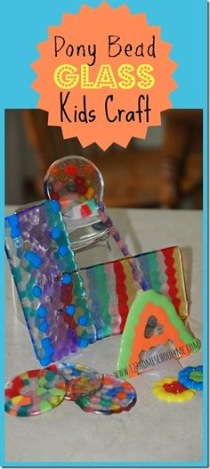 Melted Pony Bead Craft for Kids - This is SO COOL! What an easy to make, fun project for kids to make homemade presents like DIY Coaster Present, Glass Sculpture, Mobile, or Suncatcher. Great summer activity for kids of all ages! Fun Projects For Kids, Summer Crafts For Kids, Summer Activities For Kids, Diy For Kids, Fun Activities, Summer Fun, Summer School, Melted Pony Beads, Pony Bead Crafts