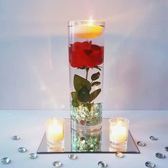 Wedding Centerpiece, Floating Candle Centerpiece with Red Rose, Beauty And The Beast Wedding, Red Table Decor, Bridal Shower, Wedding Decor by LuxuryByLexi on Etsy