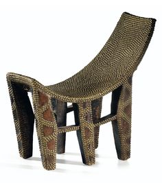 Africa | Chair from the Ngombe people of DR Congo | Wood and copper studs | 20th century