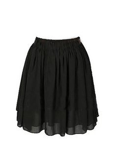 Chiffon Short Skirt - Black - Stretch High Waist Bottom
