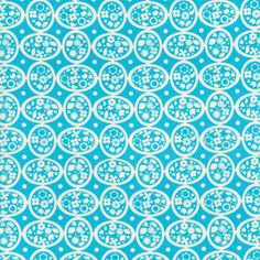 Blue Floral Ovals  8 x 8 inch swatch
