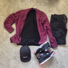 Outfit grid - Red checks & black