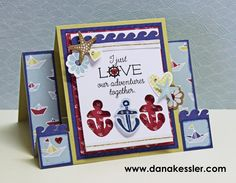 Nautical Regatta Love Card Center Step #ctmhregatta #cricutexplore #nautical #cards #cardmaking