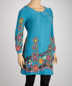 Love this Teal Floral Sweater Dress - Plus on #zulily! #zulilyfinds
