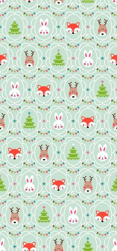 Christmas_Forest by Stéphanie Cute Christmas Wallpaper, Winter Wallpaper, Christmas Background, Mobile Wallpaper, Wallpaper Backgrounds, Iphone Wallpaper, Illustration Noel, Christmas Illustration, Vintage Flowers Wallpaper