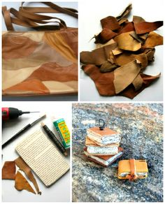 scrap o' leather, and some book pages turn into itty bitty book necklaces!