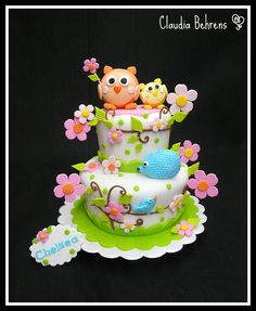 happy tree cake - claudia behrens by Claudia Behrens ~ Cakes, via Flickr girls caake birthday ay kids Owl Cake — Children's Birthday Cakes party Girl Boys