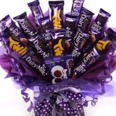Large chocolate bouquet made from Cadbury chocolate bars, a stunning gift perfect for birthdays, get well, anniversary or thank you gift, UK next day delivery. Cadbury Chocolate Bars, Chocolate Tree, Valentine Chocolate, Chocolate Gifts, Food Bouquet, Gift Bouquet, Liquor Bouquet, Chocolates, Sweet Hampers
