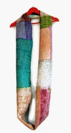 long nuno infinity scarf for women teal peach red by gaiagirard