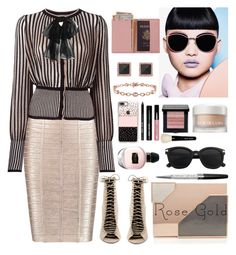 """""""251. Rose Gold Glow"""" by milva-bg ❤ liked on Polyvore featuring Hervé Léger, Alexander McQueen, Casetify, Bobbi Brown Cosmetics, La Mer, Kendall + Kylie, Anne Sisteron, Miadora, Lee Savage and Swarovski"""