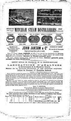 Publicité, L'Union pharmaceutique : journal de la Pharmacie centrale de France : organe des intérêts scientifiques, pratiques et moraux de la profession, novembre 1887