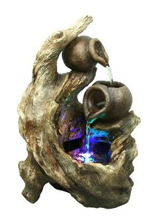 14-inch H Tree Trunk and Jugs Fountain with RGB LED Lights