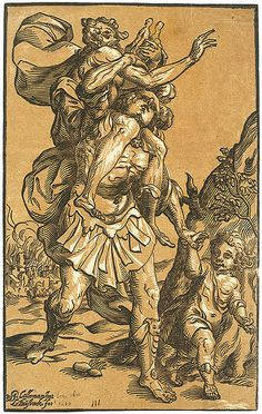Aeneas flees burning Troy carrying his father Anchises and leading his son Ascanius by the hand.    Woodcut by Ludolph Büsinck