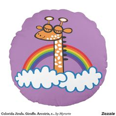 Colorida Jirafa. Giraffe. Arcoiris, rainbow. Regalos, Gifts. #cojín #pillow