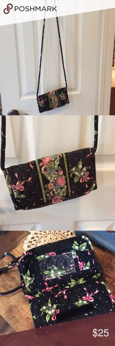 Vera Bradley bundle. Breast Cancer Vera Bradley crossbody wallet & small handbag.Good condition. Vera Bradley Bags Crossbody Bags