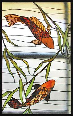 ZOOM to stained glass koi fish window Tiffany Stained Glass, Custom Stained Glass, Faux Stained Glass, Stained Glass Designs, Stained Glass Panels, Stained Glass Projects, Stained Glass Patterns, Leaded Glass, Window Glass
