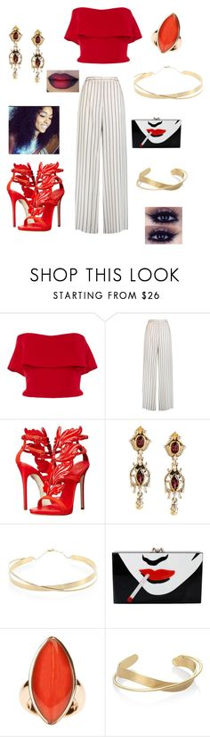 """Untitled #362"" by ericap61720 ❤ liked on Polyvore featuring Reem Acra, Iris & Ink, Giuseppe Zanotti, Konstantino, Lana Jewelry, Charlotte Olympia and Vhernier"
