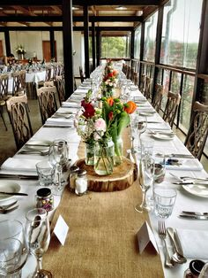 The Function Room Dressed With Burlap Runners At Yarra Ranges Estate Winery Wedding