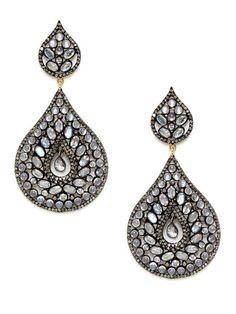 Rainbow Moonstone & Diamond Double Pear Drop Earrings by Aishwarya on Gilt.com
