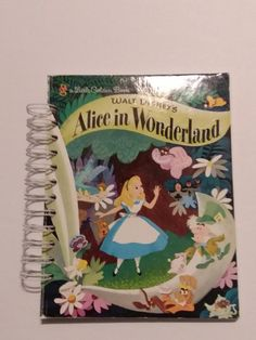 Alice in Wonderland Recycled Children's Book Notebook, 100 Pages use for Junk Journal, Inspirational Journal, Kids Travel Book, Walt