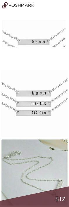"""JUST IN: """"BIG SIS"""" Pendant Necklace NWT Zinc Alloy. Nickel and lead compliant. Please see last pic for dimensions and length. """"Mid Sis"""" and """"Lil Sis"""" sold on separate listing. Gold color only shown for measurement purposes. Jewelry Necklaces"""