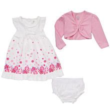 Koala Baby Girls' 3 Piece White/Pink Ladybug Sleeveless Dress and Diaper Cover Set with Shrug