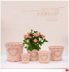 Ceramic Planter With Embossed Heart Design And With Classic Laciness. A  Craft Full Of Romantic