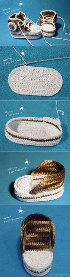 Мастер-класс пинетки кеды от Ирины Костельнюк | Красивое вязание