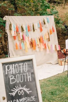 pastel bohemian wedding photo booth / http://www.deerpearlflowers.com/brilliant-wedding-photo-booth-ideas/