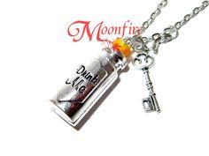 ALICE IN WONDERLAND Drink Me Potion Bottle Key Necklace
