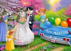 Kittens cat bride groom wedding car spring fantasy original aceo painting art #Miniature