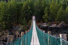 The Swinging Bridge at Kootenai Falls In Montana