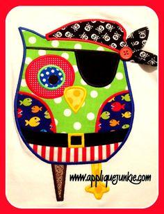 Pirate Owl Applique Design