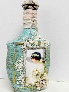 Altered Art Bottle, Vintage Bottle Decorative Blue Aqua French Paris  look Shabby Cottage