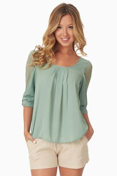 Sage Lace Sleeve Blouse #womens #cutetops #outfitinspiration
