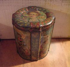 London Scene English Cookie Tins | Beautifully Distressed 1895 English Biscuit Tin with Alpine Theme ...
