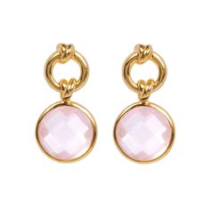Knot Drop Earrings with Rose Quartz | 18ct Gold Vermeil | Davina Combe