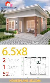 Plans petite maison moderne House Design Plans with 2 Bedrooms Shed Roof Tapping Your Child's Small House Layout, Modern Small House Design, Small House Interior Design, Simple House Design, House Front Design, House Layouts, Small House Interiors, 2 Bedroom House Design, Modern Roof Design