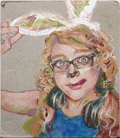 """Nicole Schifferdecker, Newman Smith High School, """"Carrot Garden"""":   """"In this piece, I created a bizarre twist on a classic self-portrait. Using acrylic and tempera paint, as well as colored pencils, I experimented with colors and brushstrokes to achieve expressive formal qualities. I often mixed the paint with water to get a range of opacities that reacted differently with the cardboard surface."""""""