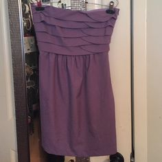 Purple strapless layered cocktail or party dress It's super cute and comfortable! A neutral purple color strapless dress with layered and folded bodice. Zips up on the side. Great cocktail or party dress! Dresses Mini