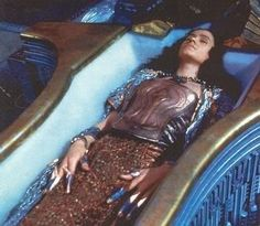 Stargate. Jaye Davidson in crypt showing finger gauards and copper corset.  #josephporrodesigns