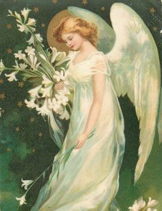 Christmas winged angel with flowers old artist postcard Christmas Angels, Christmas Art, Postcard Paper, Victorian Angels, I Believe In Angels, Ange Demon, Angel Pictures, Angels Among Us, Angel Cards