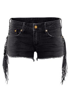 Low-rise Frayed Tassels-embellished Denim Shorts