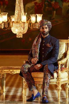 Buy Samyakk Navy Blue Silk Printed Achkan Sherwani online in India at best price. Sherwani For Men Wedding, Wedding Dresses Men Indian, Wedding Outfits For Groom, Sherwani Groom, Indian Wedding Wear, Wedding Dress Men, Wedding Men, Wedding Suits, Punjabi Wedding