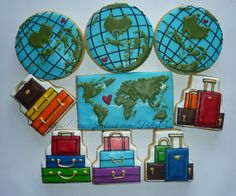 My last creation for year 2014 travel theme cookies for a wedding