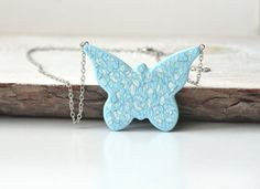 Handpainted pendant Butterfly pendant Blue White by MagicTwirl